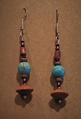 Brown Accent Turquoise Earrings