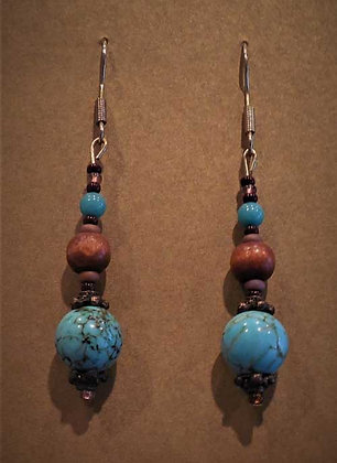 Blue/Brown Accent Turquoise Earrings