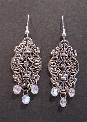 Silver + White Crystal Earrings
