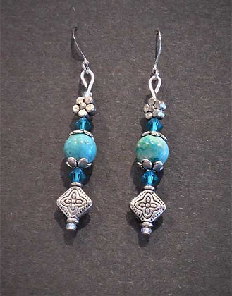 Turquoise Silver Accent Earrings