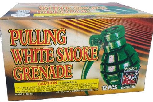 Pulling White Smoke Grenade