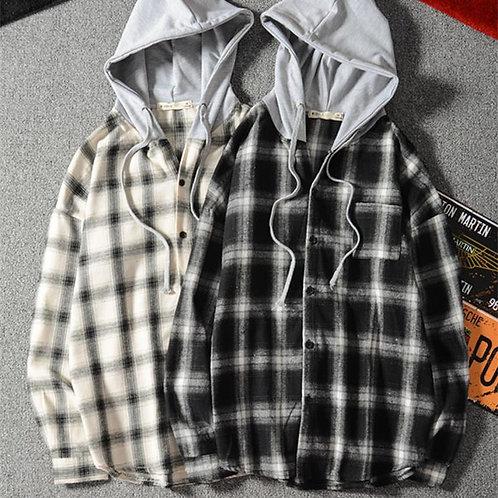 フード付きチェックシャツ JY2019100712