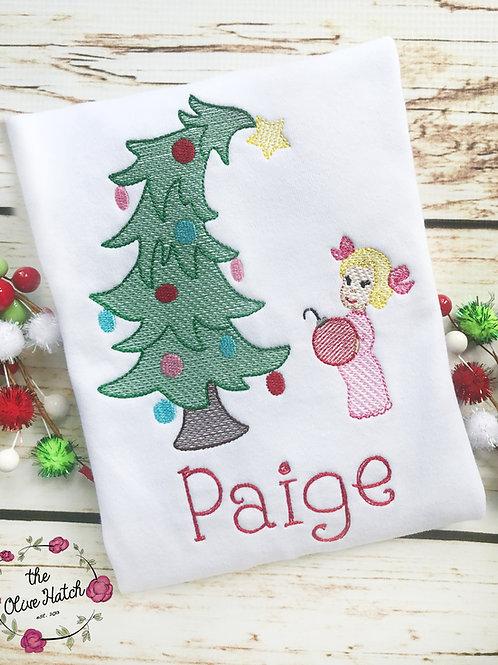Girl Placing Ornament on Tree Christmas Shirt