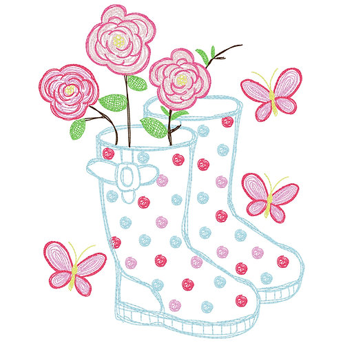 Rain Boots Embroidery Design