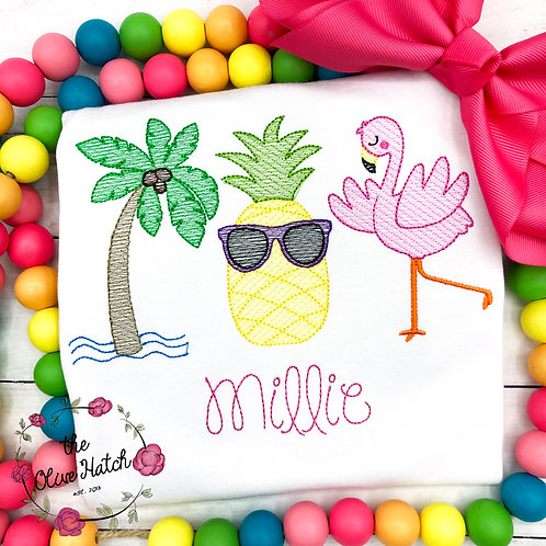 Pineapple Flamingo Beach Shirt -- Sketch Embroidery