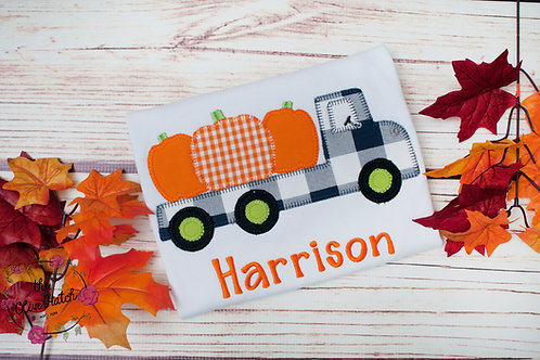 Fall Pumpkin Truck Zig Zag Design -- Applique