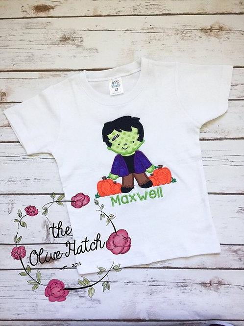Frankenstein Halloween Shirt -- Applique