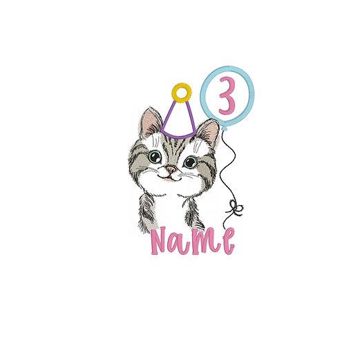 Kitten (Girl) Birthday Embroidery Design Shirt