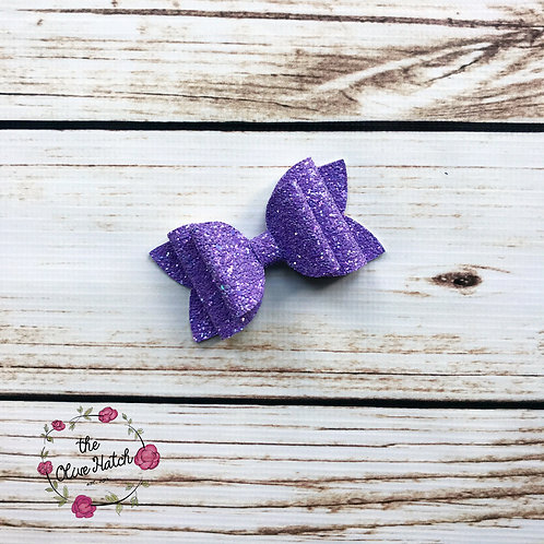Lavender Glitter Bow - Double Stack