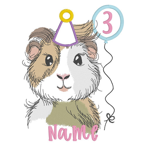 Guinea Pig (Girl) Birthday Embroidery Design Shirt