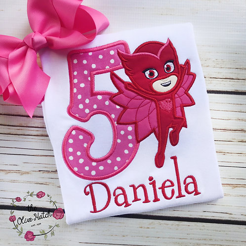 Pajama Owl Birthday Applique