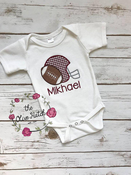 Maroon and White Football -- Applique