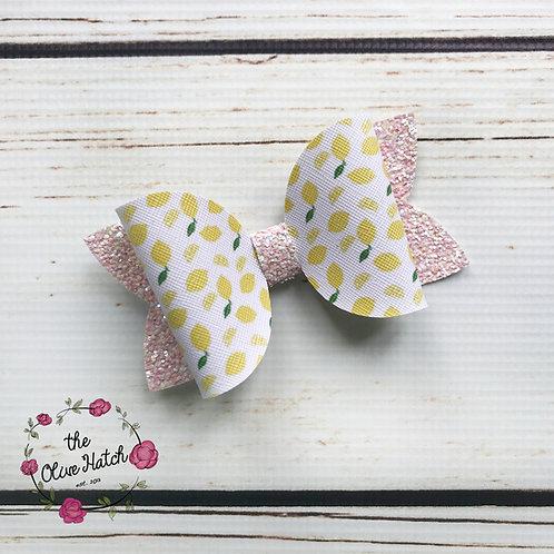 Lemon Glitter Bow - Single Stack