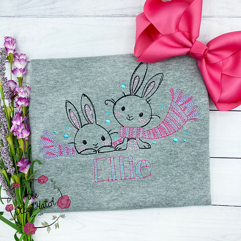Winter Bunny Embroidery Shirt
