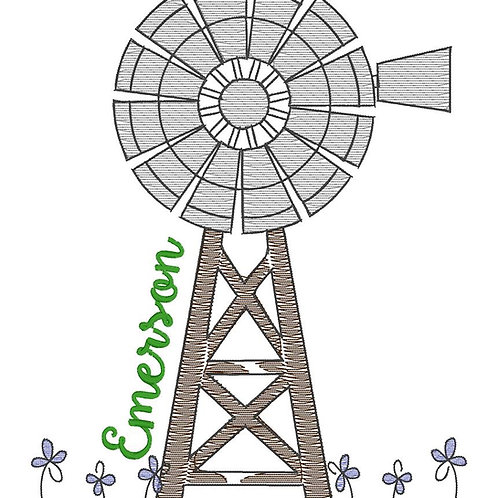 Windmill Sketch Design -- Embroidery