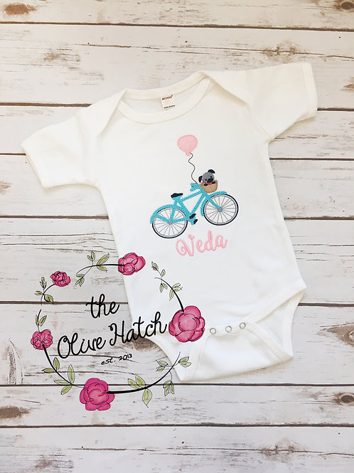 Bicycle and Pup Baby Outfit