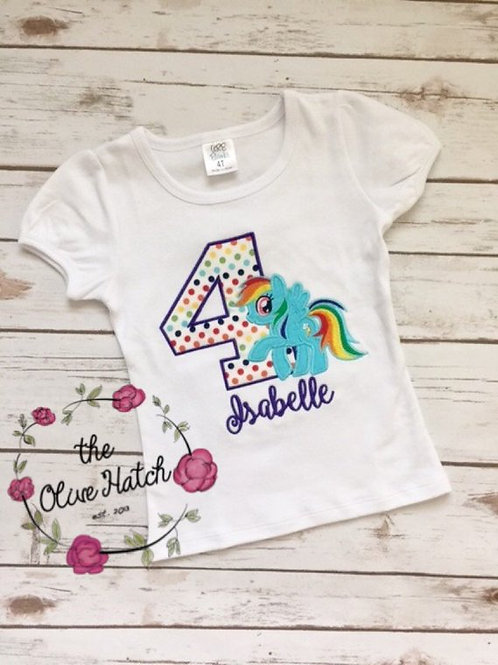 Rainbow Pony Birthday Applique