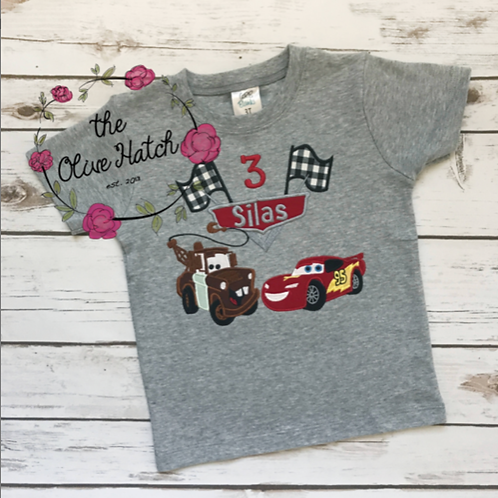 Car Birthday Shirt -- Applique
