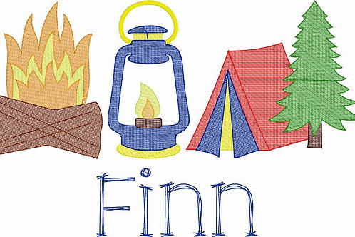Camping Sketch Design -- Embroidery