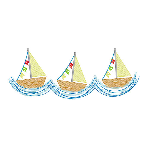 Boat Sketch Embroidery Design Shirt