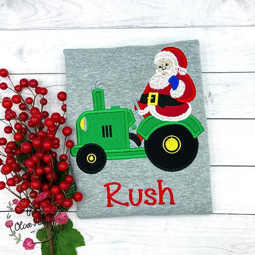 Santa Claus on Tractor Applique Shirt