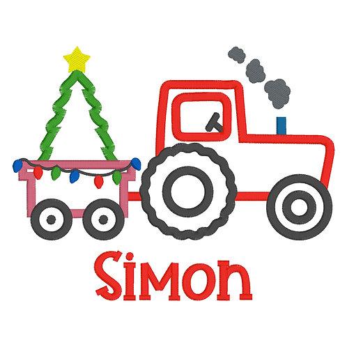 Christmas Tractor Applique Shirt