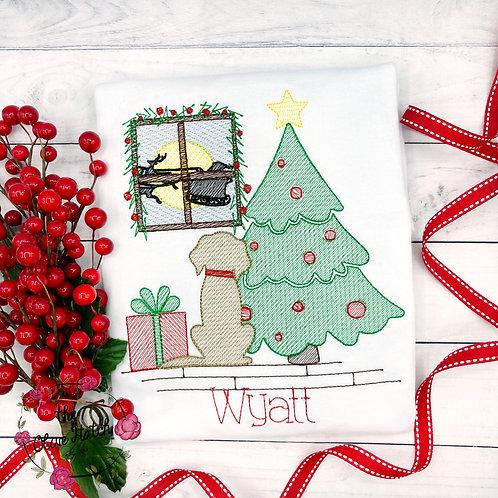 Christmas Eve Sketch Embroidery Shirt