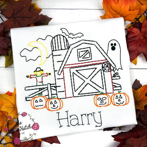 Haunted Barn Sketch Design -- Embroidery