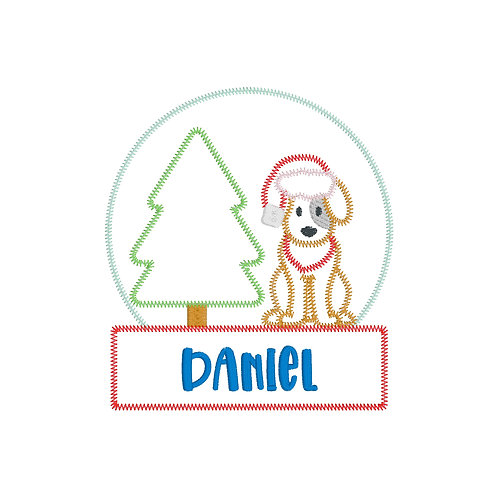 Dog Snowglobe Applique Shirt