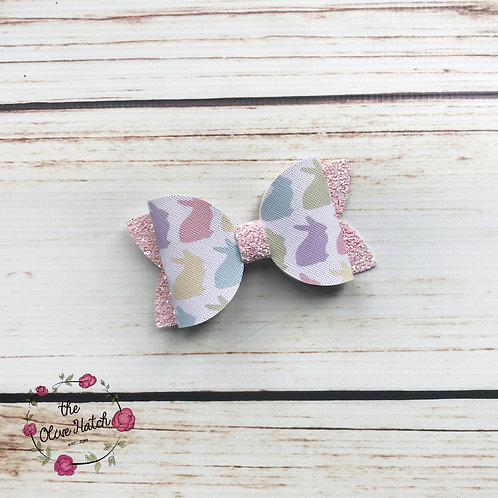 Bunny Glitter Bow - Ollie Single Stack