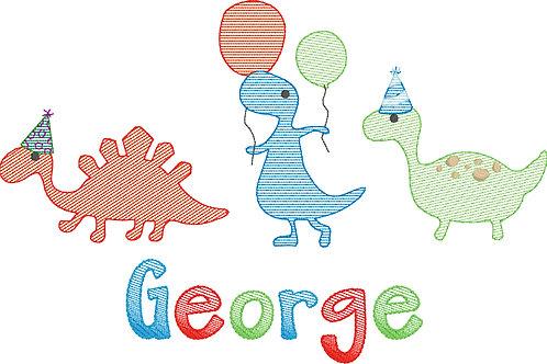 Dinosaur Birthday Trio Applique