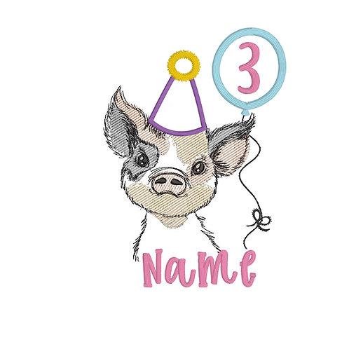 Piggy (Girl) Birthday Embroidery Design Shirt