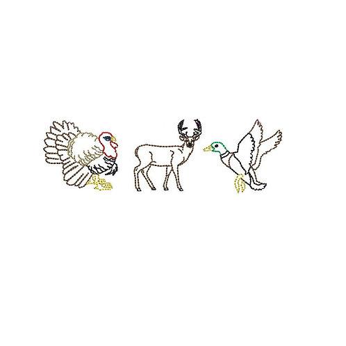 Hunting Trio Design - Bean Stitch