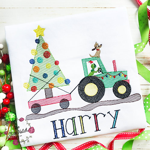 Green Monster Tractor - Sketch Embroidery