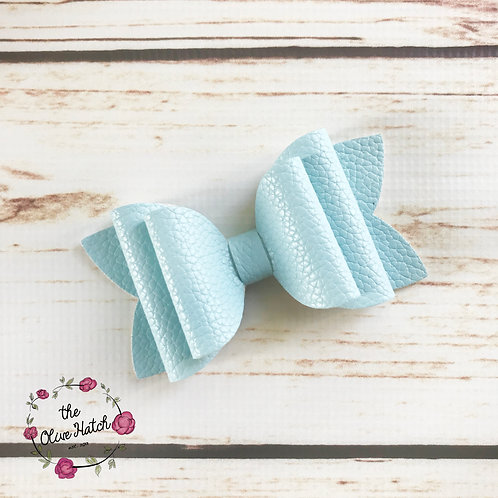 Sky Blue Faux Leather Bow - Double Stack