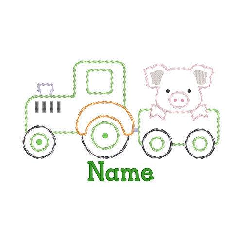 Tractor Pig Applique Shirt