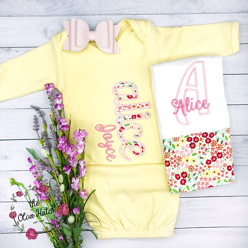 Yellow and Pink Baby Gown