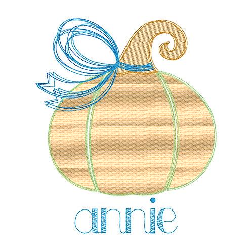 Fall Pumpkin Sketch Embroidery Design