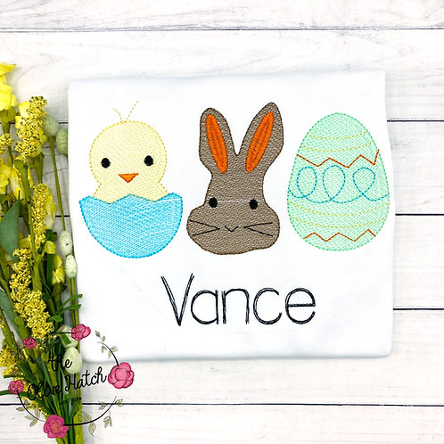 Easter Sketch Trio Embroidery Shirt