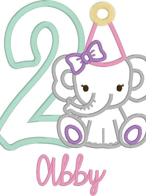 Elephant Birthday Applique