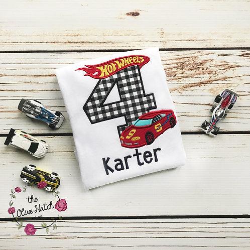Race Car Birthday Applique Shirt