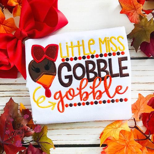 Little Miss Gobble Gobble -- Applique