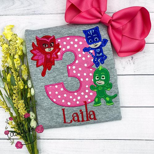 Pajama Hero Birthday Applique