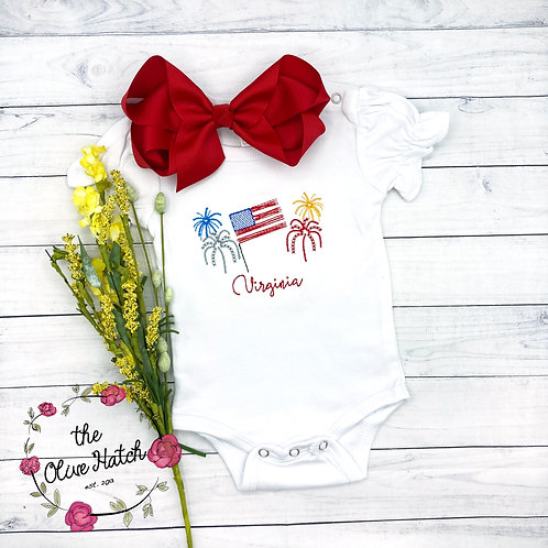Patriotic Flag and Fireworks Sketch Shirt