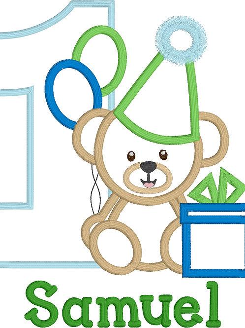 Bear Birthday Applique