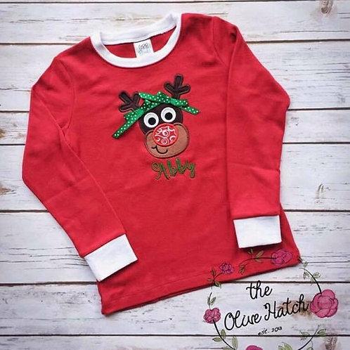 Girl Reindeer Christmas Shirt