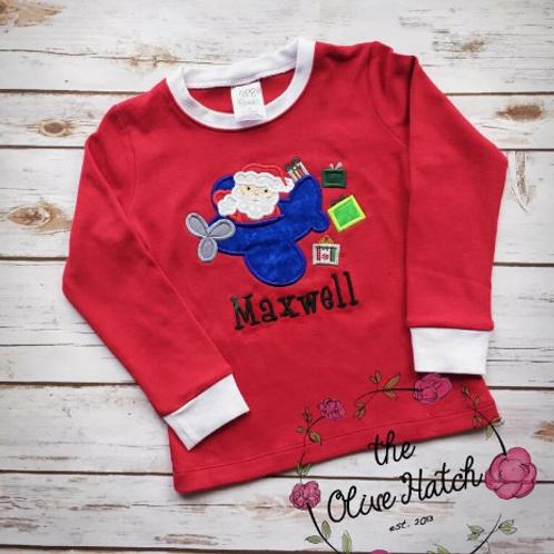 Santa on Airplane Christmas Shirt