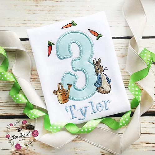 Rabbit Birthday Shirt -- Applique