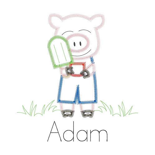 Boy Pig Applique