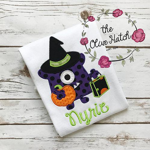 Monster Witch Halloween Shirt -- Applique